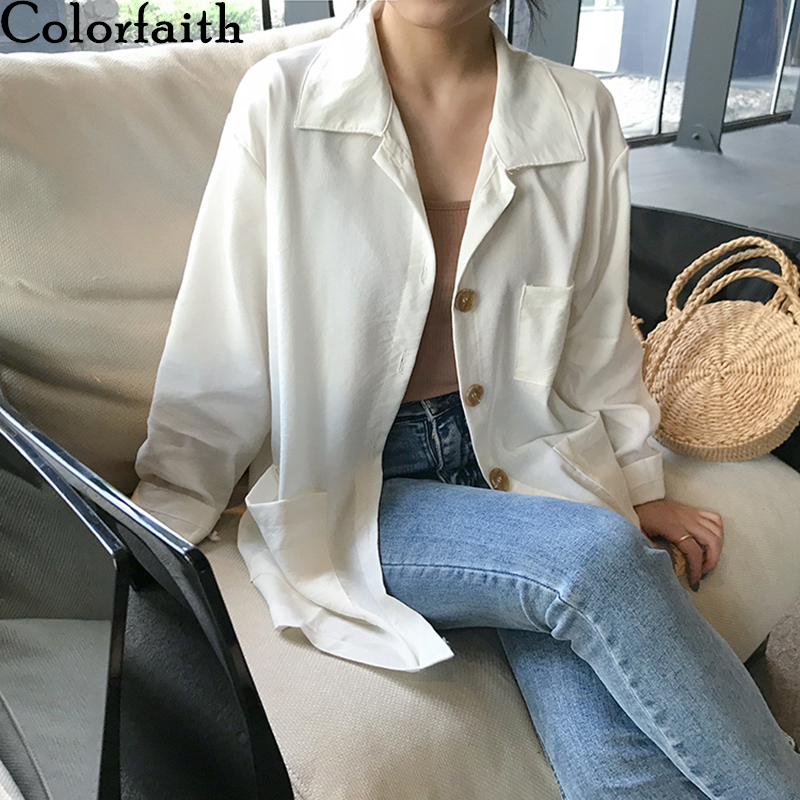 Colorfaith New 2020 Women Spring Summer Blouse Shirts Pockets Single Breasted Casual Loose Notched Soft Female Wild Tops BL3557