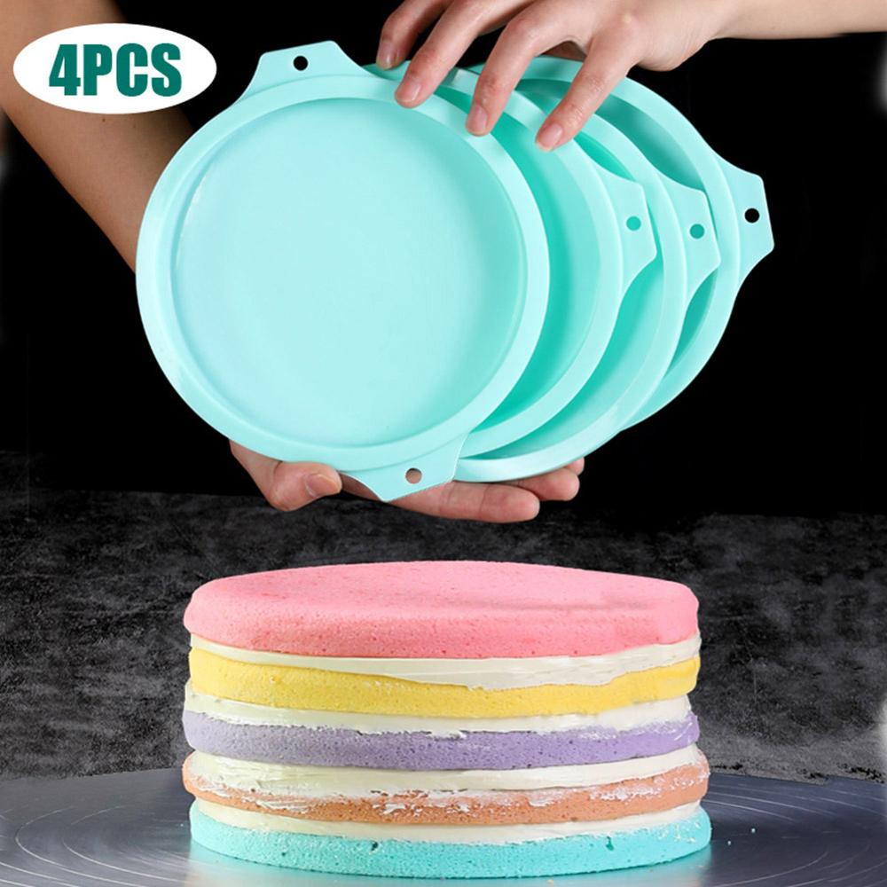 4 Pcs 8Inch Rainbow Disc Food Platinum Cake Mold High Baking Utensils High Quality Silicone Non toxic and Durable|Cake Molds| |  - title=