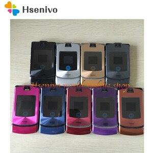 Image 4 - الأصلي موتورولا رازر V3i 100% مقفلة الوجه GSM بلوتوث MP3 رباعية الفرقة الهاتف الخليوي المحمول تجديد شحن مجاني