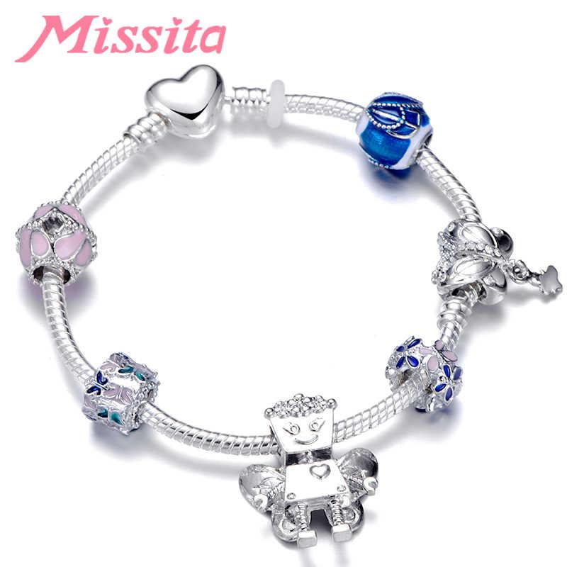 Missita 2019 nova série bella robô charme pulseira com contas de borboleta pulseiras para mulheres presente da marca de aniversário dropshipping