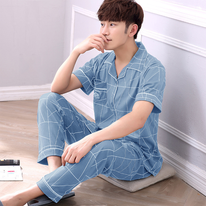 Striped Printed Sleep Wear for Men Night Suit 2020 Summer Pure Cotton Pajamas Men Large Size Loose Two-piece Pajamas Pijamas