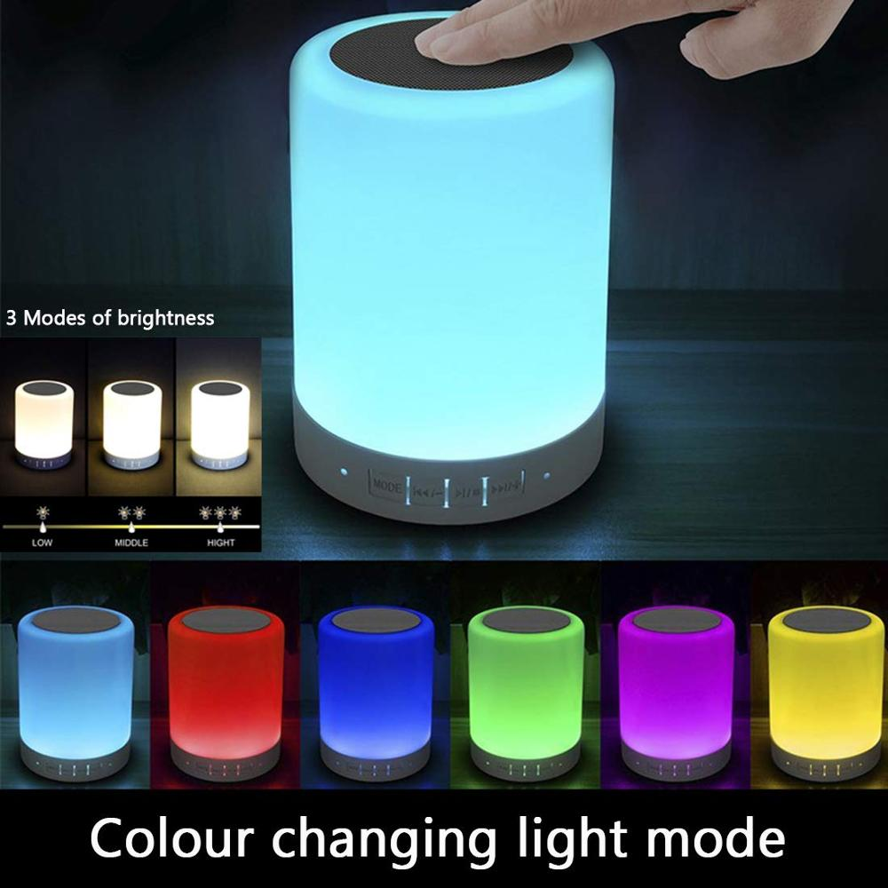Table Lamp Portable Bluetooth Speaker,Rechargeable Night Light,Touch  Lamps + Dimmable Warm White Light & Color Changing RGB