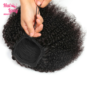 Halo Lady Beauty Drawstring Afro Kinky Curly Ponytail Human Hair Non-Remy Indian Hair Extensions Pony Tail For African American(China)