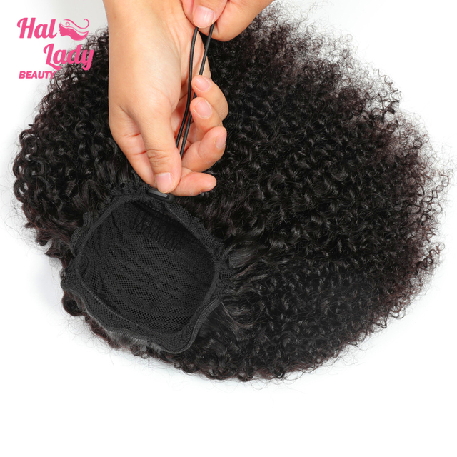 Halo Lady Beauty Drawstring Afro Kinky Curly Ponytail Human Hair Non Remy Indian Hair Extensions Pony Tail For African American
