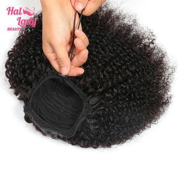 Halo Lady Beauty sznurek Afro perwersyjne kręcone kucyk ludzkie włosy nie indyjskie włosy rozszerzenia koński ogon dla afroamerykanów tanie i dobre opinie Nie remy włosy 100 g sztuka Ciemniejszy kolor tylko Clip-in Pure color Indyjski włosy