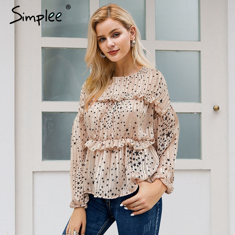 Simplee Elegant Ruffled Chiffon Blouse Women Long Sleeve Star Print Female Tops Shirt Casual Autumn Winter Ladies White Blouses
