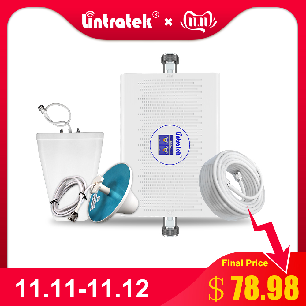 Lintratek 2G 4G Cellular Signal Booster Repeater 900mhz 1800mhz GSM 4G LTE 70dB Gain AGC ALC Cell Phone Signal Amplifier Set *