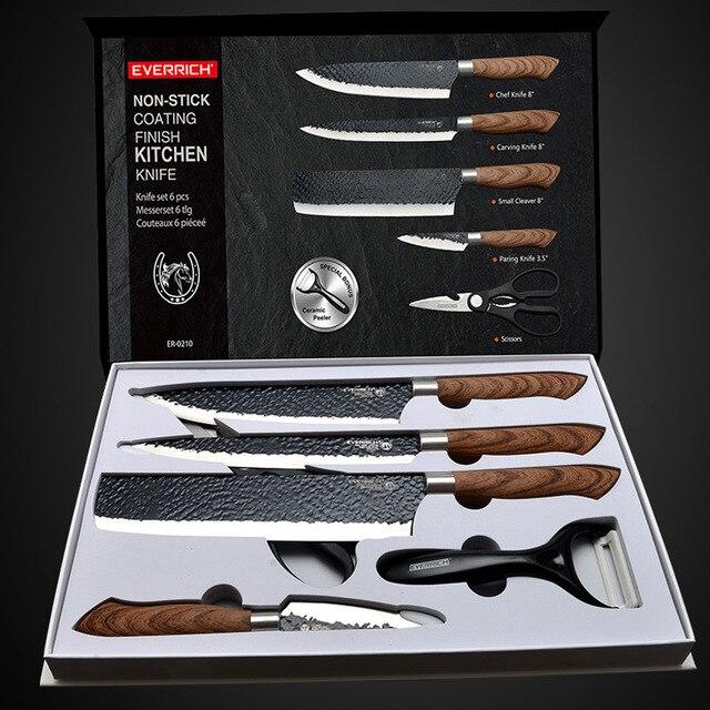De acero inoxidable Juego de cuchillos de cocina herramientas forjado cuchillo de cocina tijeras de cerámica pelador Chef cortadora Nakiri cuchillo caso 1