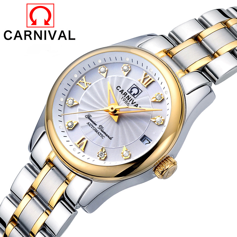 Reloj Mujer CARNIVA Luxury Women Mechanical Watch Ladies Waterproof Crystal Sapphire Automatic Wrist Watches Calendar Clock Gold