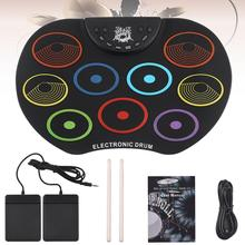 Electronic Drum USB 9 Pads Colorful Roll up Set Silicone Electric Drum Kit with Drumsticks Foot Pedals for Children Kids цены онлайн