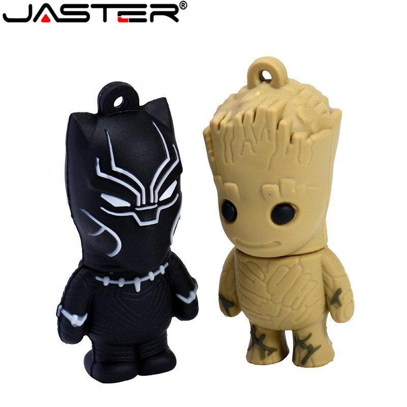 JASTER Marvel Comics Black Panther  Deadpool USB 2.0 Pen Drive Minions Memory Stick Pendrive 4GB 16GB 32GB 64GB Gift