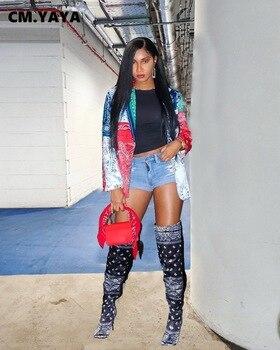 CM.YAYA babie lato Bandanna Paisley kobiety karbowany kołnierz Blazers seksowna odzież miejska, klubowa, na imprezę Blazer topy