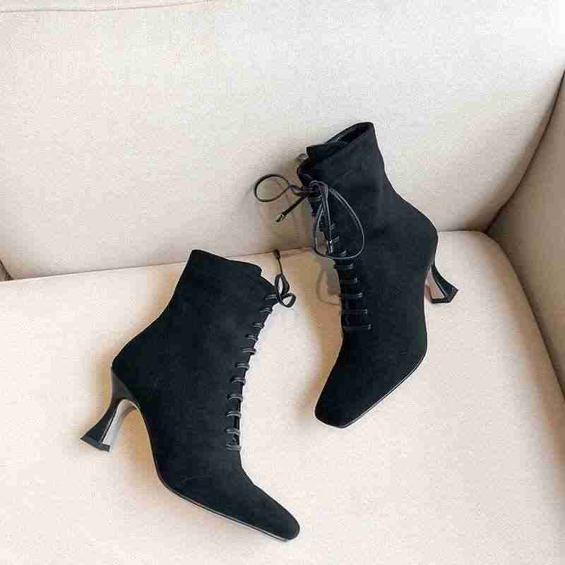 Krazing pot fransız zarif lace up kare ayak yüksek topuklar streç akın yan zip kış kadın marka moda katı yarım çizmeler l01