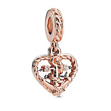 2020 Authentic 925 Sterling Silver Rope Heart Love Anchor Dangle Charms Beads fit Original Pandora Bracelets Women DIY Jewelry wostu authentic 100% 925 sterling silver cute owl love story charms fit original wst bracelets diy jewelry gift cqc425