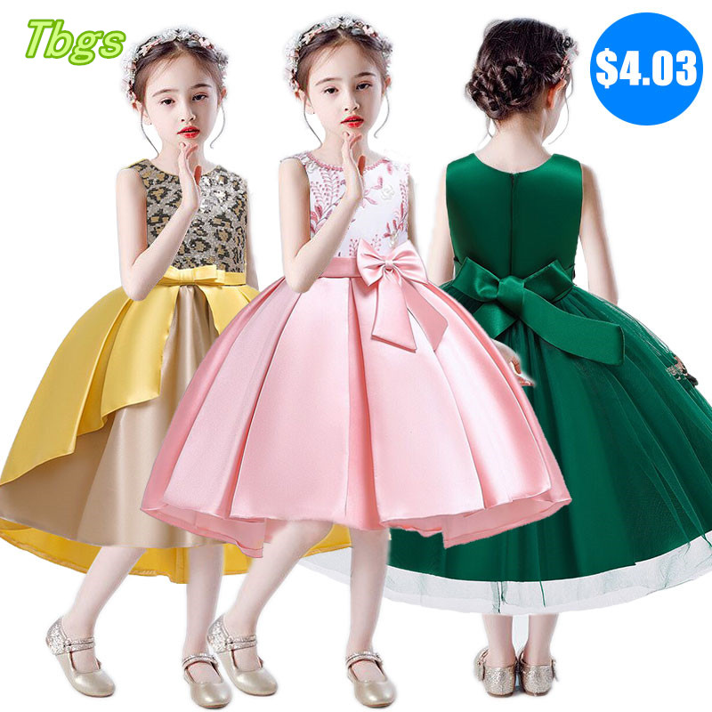 Girls 2019 Dress Gauze Gauze Europe And America Wedding Elegant Flower Dress Children Bow Dress Baby Children's Dress
