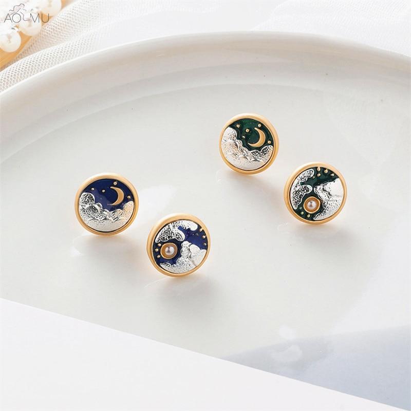 AOMU Small Cute Fairy Tale Geometric Round Sun Moon Cloud Emboss Enamel Metal Stud Earrings for Women Gift Party Jewelry