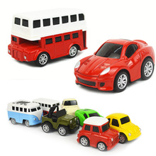 4 Pcs/Set 1:64 Children's Cartoon Mini Pull Back Alloy Car Model Classic Car Bus Toy Car Set Model Child Birthday Gifts for Boy hot pull back car toy children pocket toy model mini car cartoon pull back bus truck helicopter boy gift color random jm106