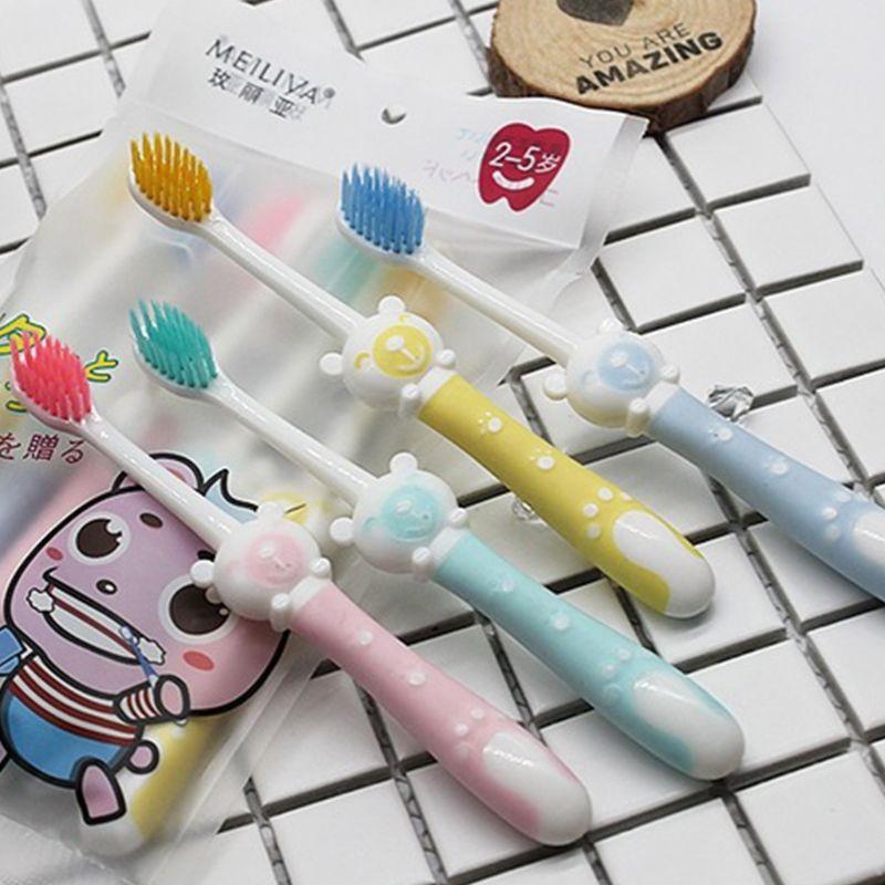 5 pcs set criancas criancas escova de dentes dos desenhos animados do urso de silicone lidar