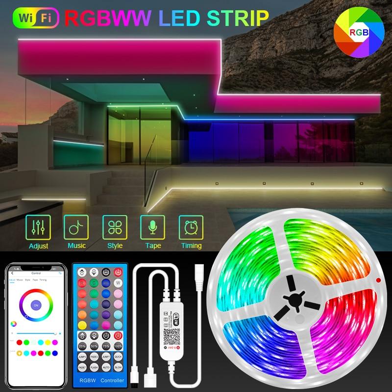 5M-30M RGBWW Wifi Led Strip Lights 5050 Bluetooth warm white Led strip Phone App Control Flexible Lamp Tape Ribbon DC12V Adapter
