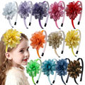 XIMA 12 шт./лот Детские аксессуары для волос 3''Laser Hair Flower Hairband Принцесса Вечерние обручи для волос девушки держатели головных уборов
