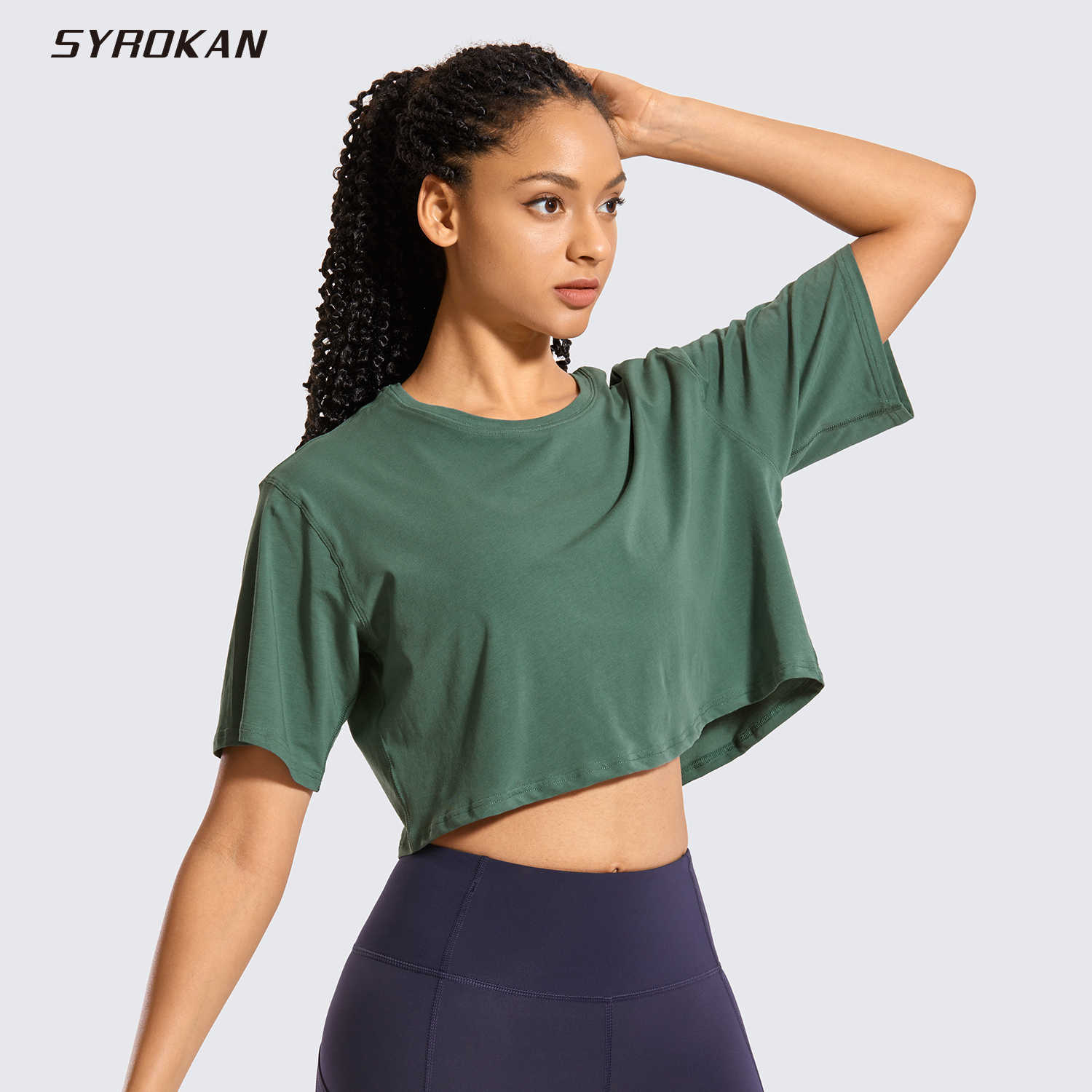 Syrokan Vrouwen Pima Katoen Workout Crop Tops Korte Mouw Running T-shirts Casual Athletic Tees