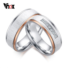 Vnox Matt Surface Wedding Rings for Women Men CZ Stones Silver & Rose Gold-color Stainless Steel Couple Ring Wedding Jewelry(China)