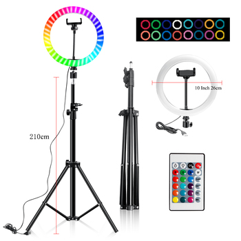 10 Inch Led Ring Light Usb RGB Ringlamp USB Light Ring Photo Selfie Lamp with Remote Phone Stand for Streaming Video Photography 8