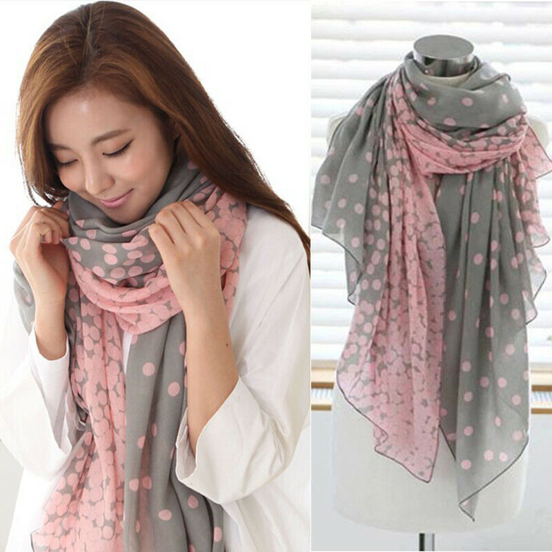 Women Long Polk Dots Print Pattern Shawl Scarf Warp Stole