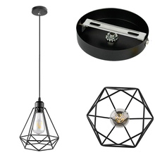 Modern Nordic Pendant Lights Black Iron Retro Loft Cage Pyramid Pendant Lamp American Industrial Metal Hanging Lamps