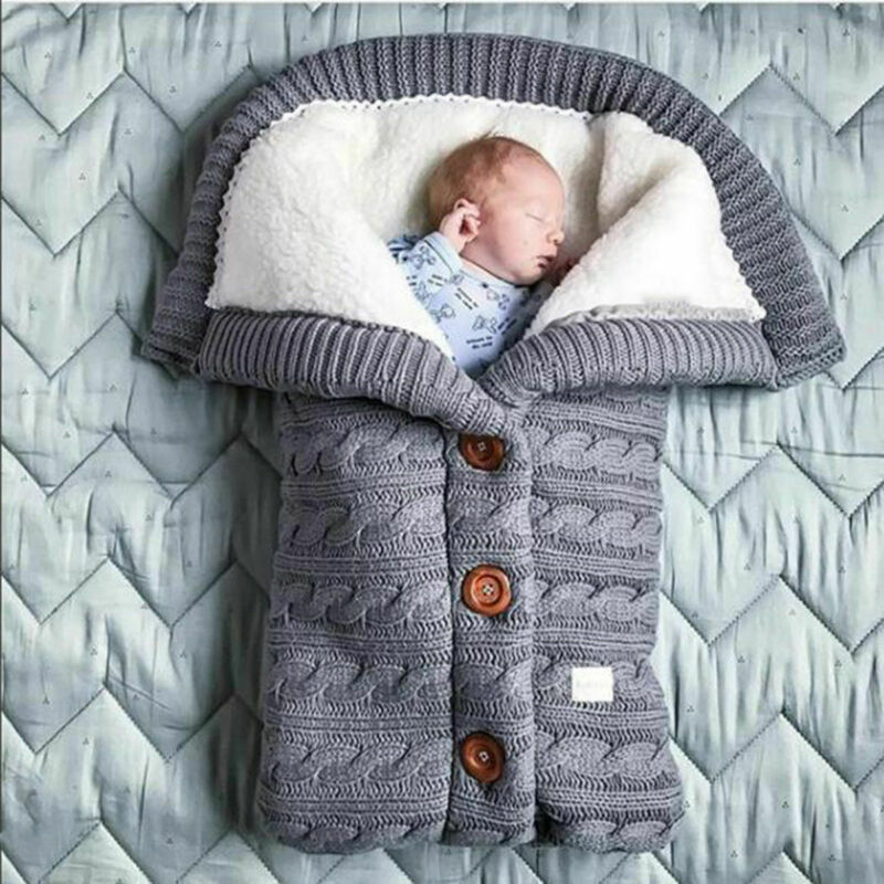 Baby Toddler Blanket Sleeping Bags Winter Warm Sleeping Bags Infant Button Knit Swaddle Wrap Swaddling Stroller Wrap