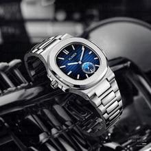 PLADEN הכרונוגרף איחוד צלילה שעון גברים כחול חיוג 316L נירוסטה אופנה מקרית קוורץ שעוני יד מתנות שעון לגברים