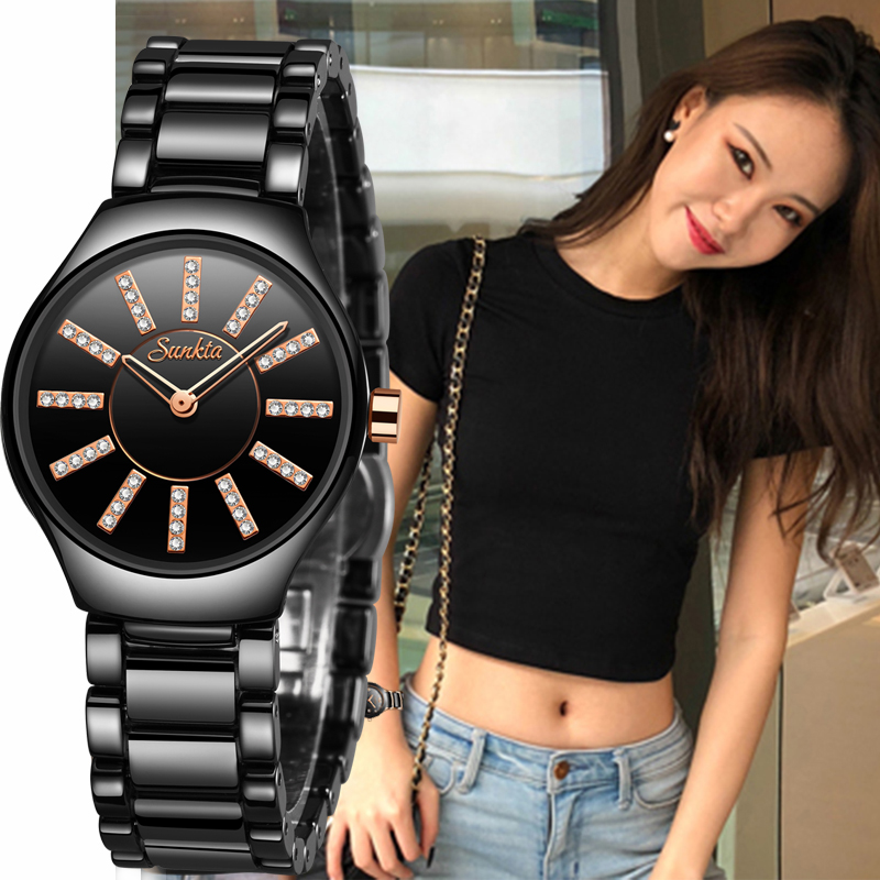 SUNKTA New Listing Quartz Ceramic Fashion Watch Trend Ladies Watches Top Luxury Brand Diamond Women Watches Relogio Feminino+Box