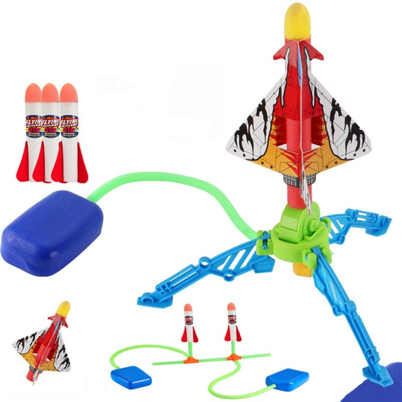 Kids Air Pressed Stomp Rocket Pedal Games Outdoor Sports Kids League Launchers Step Pump Skittles Children Foot Family Game Toy