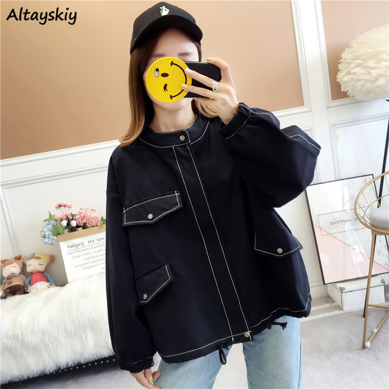 Jackets Women Loose Turn-down Collar Pockets Elastic Cuff Womens Korean Style Simple Student All-match Daily Harajuku Chic New