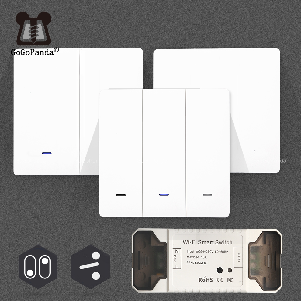 Smat 1/2/3 Gang Push Light Switch Wireless Control 110v 220v Receiver Panel Button Wall Lamp RF On/off Interrupter Device(China)