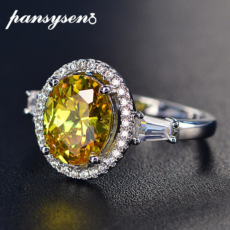 PANSYSEN 100% 925 Sterling Silver Wedding Engagement Jewelry Citrine Rings For Women 8x10MM Oval Gemstone Ring Wholesale