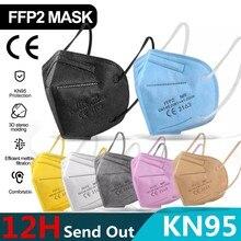 5-200 pces ffp2 mascarillas ce máscara preta kn95 máscara 5 camadas máscara facial kn95 filtro respirador rosa adultos kn95 filtro ffp2mask