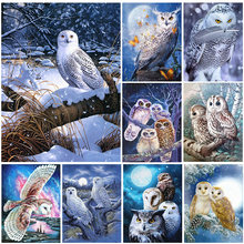 5D DIY Diamond Painting Animal Owl Embroidery Cross Stitch Mosaic Full Drill Sticker Home Decoration Wall Stickers Handmade Gift