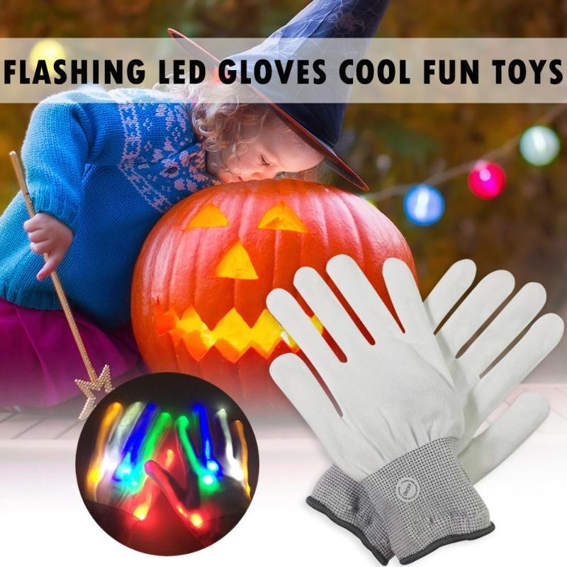 1 пара, новинка, мигающий светодиодный, перчатки, крутой, Забавный светильник, игрушки, подарки на Хэллоуин, магический реквизит, светильник для пальцев, Танцевальная вечеринка, украшения, принадлежности