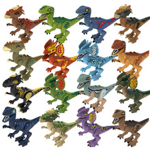 Assemble Building Block Jurassic Park Tyrannosaur Rex Dilophosaurus Stygimoloch Velociraptor Dinosaur World  Models Toys for Kid new jurassic dilophosaurus flee dinosaur world lepins building block figures motorcycle base bricks educational toys for gifts