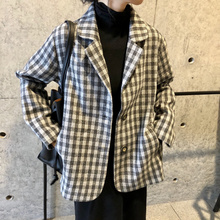 Korean Black Plaid Ladies Blazer Loose Casual Suit Jacket Long Sleeve Blazer Blanco Mujer Vintage Women's Clothing New MM60NXZ
