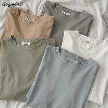 T-shirts à manches courtes pour femmes, 5 couleurs unies, Style coréen, Simple, ample, tout-assorti, étudiant, unisexe, doux, tendance, Chic, basique, nouveau
