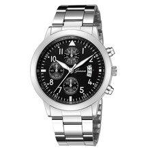 Reloj de pulsera de cuarzo para Hombre Reloj de calendario de acero inoxidable Reloj de pulsera de cuarzo deportivo militar para Hombre Zegarek Meski