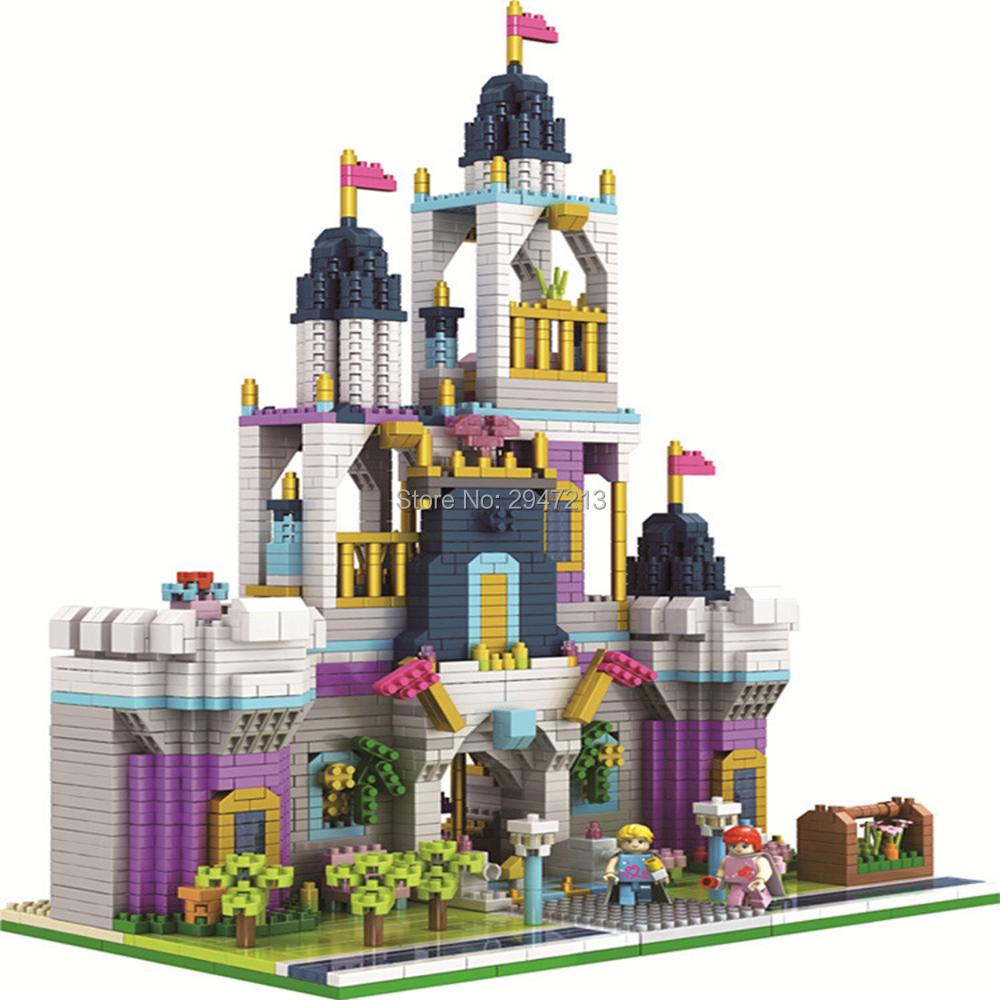 hot <font><b>LegoINGlys</b></font> city classic creators architecture European <font><b>Castle</b></font> Prince and princess model mini micro diamond blocks brick toys image