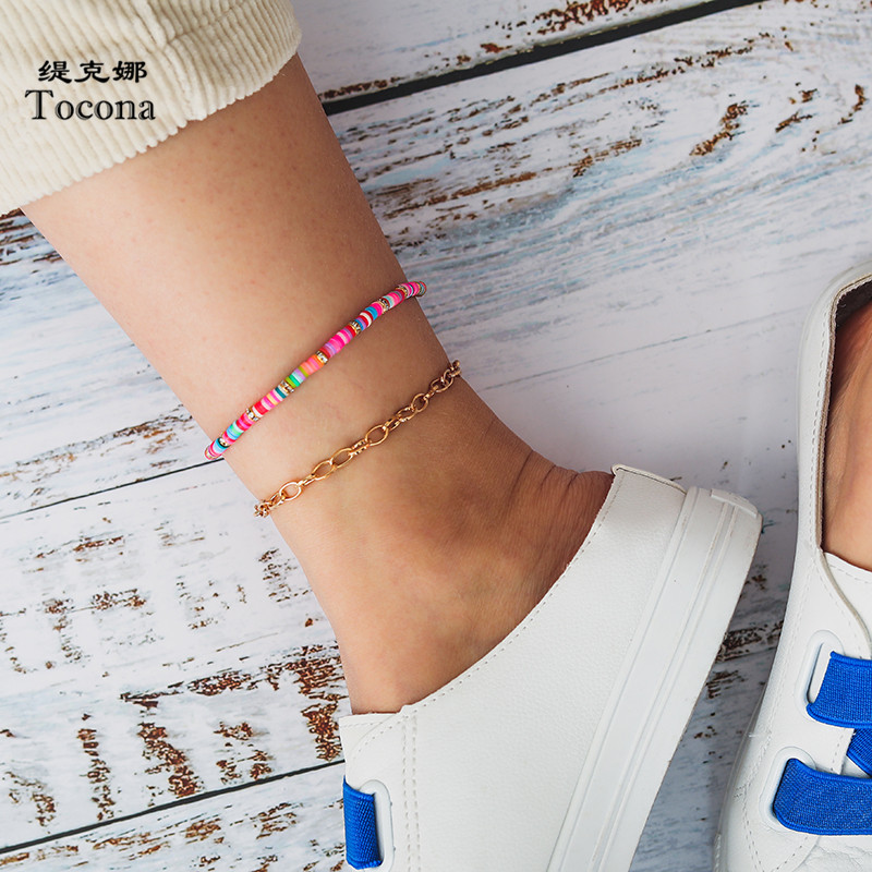 Tocona Summer Colorful Bead Anklets for Women Gold Chain Fashion Foot -Jewelry 2pcs/sets Bohmeian Jewelry Wholesale 8462