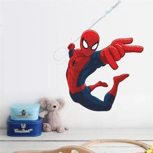 Spiderman 3D effect Super Hero Wall Stickers  Kids Rooms Decor Accessories Boys Room Marvel Movie Mural Art Poster