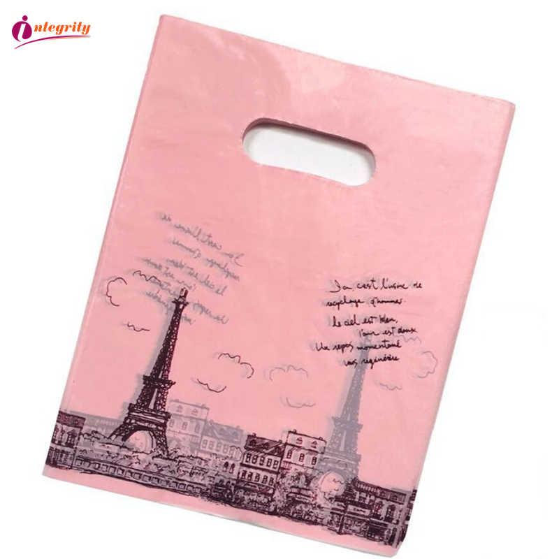 Integralność 15*20 cm/20*25 cm 10 sztuk biżuteria opakowanie z tworzywa sztucznego torby prezenty ślubne boutique prezenty opakowania na zakupy plastikowe torby z uchwytami