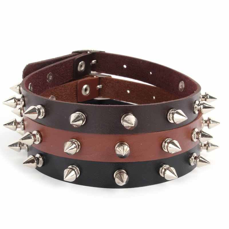 2020 Lady Punk Gothic Leather Choker Heart Chain Spike Rivet Buckle Collar Necklace