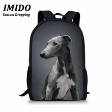 IMIDO Children School Bag Dark Grey Italian Greyhound Printing for Teenager Boy Girl Kids Backpack Bookbag Cartable Enfant 2019 cute kitten cats puppy dogs print backpack pencil bag for teenager boy girl children school bags kids bookbag women backpack