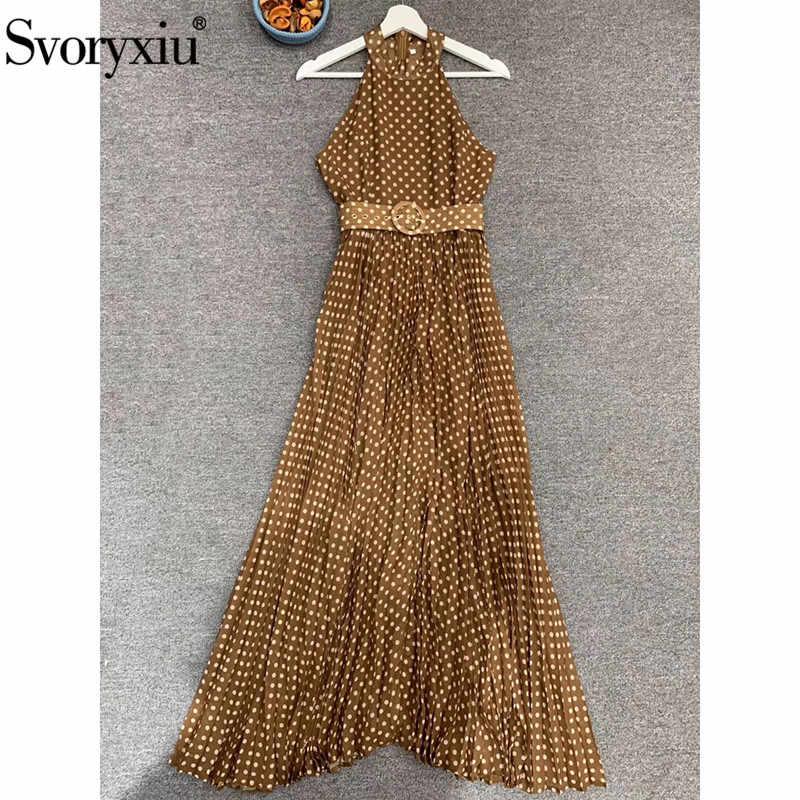 Svoryxiu Fashion Polka nadruk w kropki długa plisowana sukienka damska Runway letnie sukienki bez rękawów Vestdios